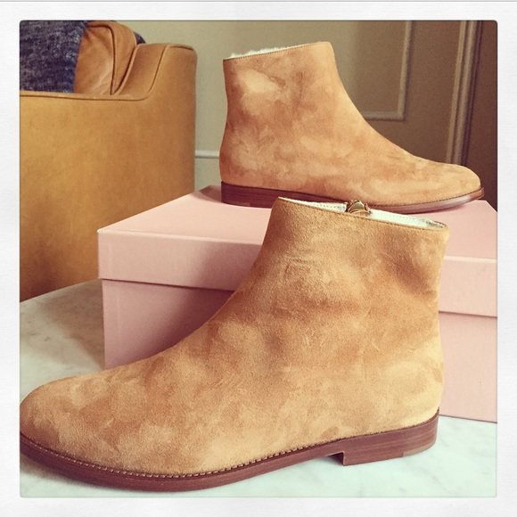c63d341b7e3 {Mansur Gavriel} Shearling Lined Suede Ankle Boots NWT